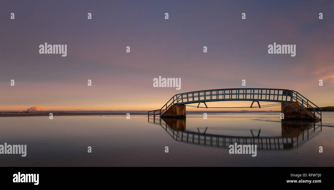 Bridge to Nowhere at sunrise, Belhaven Bay, Dunbar, East Lothian ...