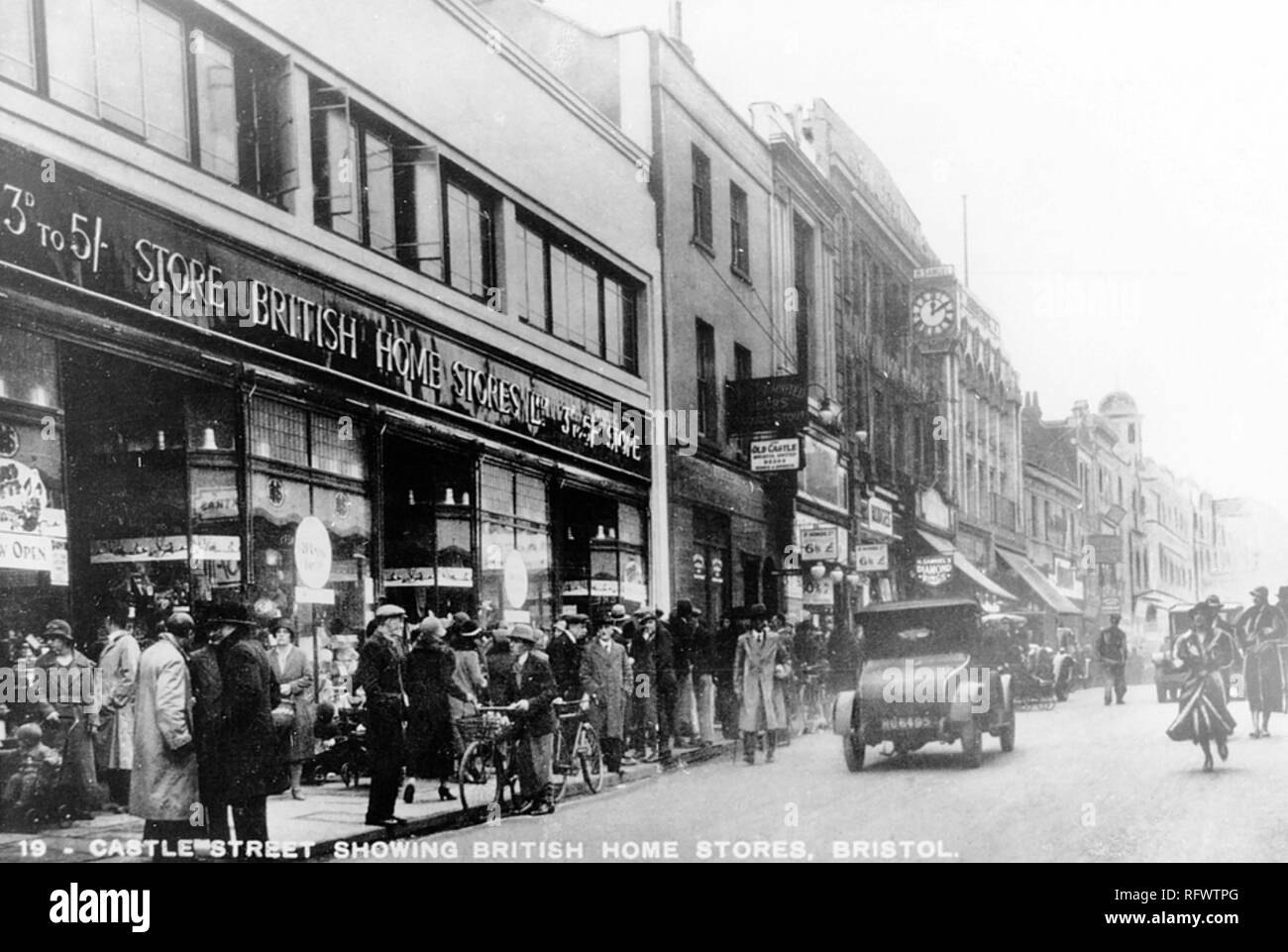 CASTLE STREET, BRISTOL, about 1925 with a British Home Stores department store at left - Stock Image