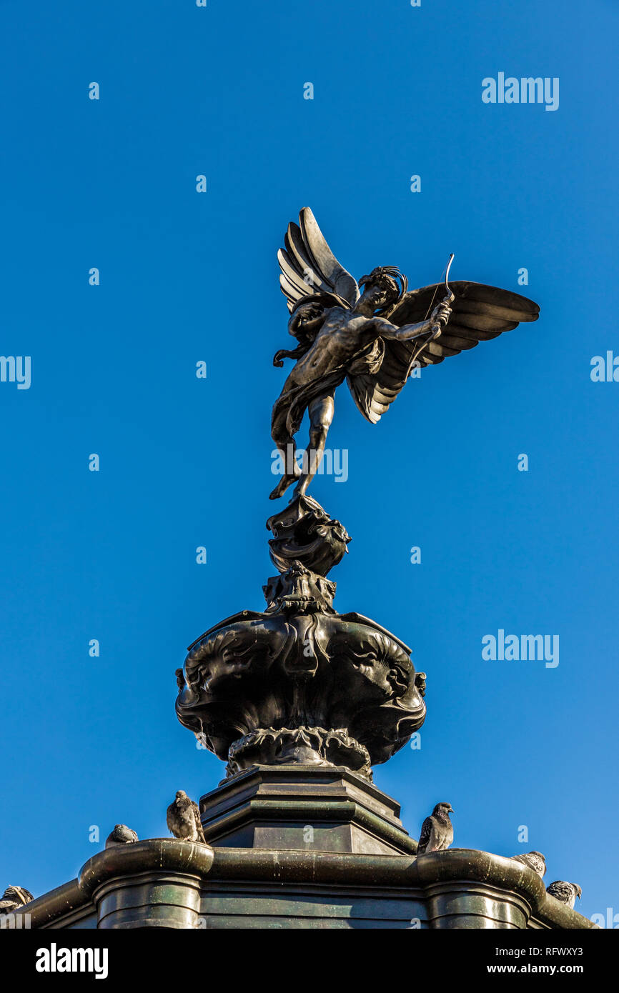 The winged statue of Anteros (Eros), Piccadilly Circus, London, England, United Kingdom, Europe - Stock Image