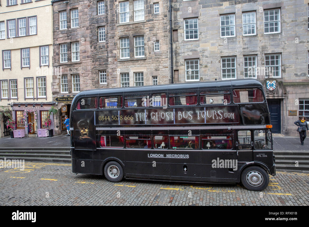 Edinburgh double decker bus for Ghost Tours around Edinburgh,Scotland,UK Stock Photo