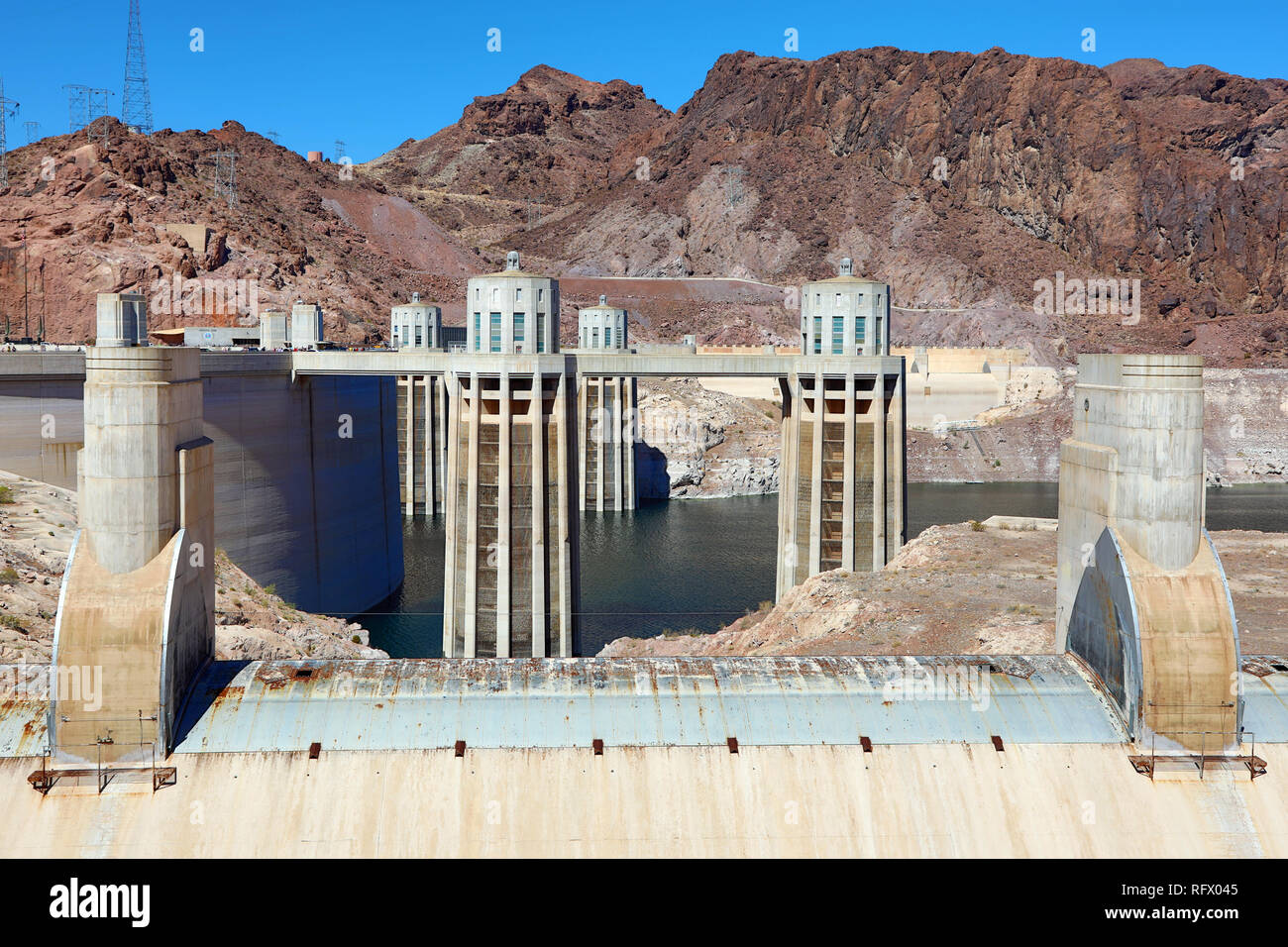 Hoover Dam hydroelectric dam on the border between Nevada and Arizona in the United States of America Stock Photo