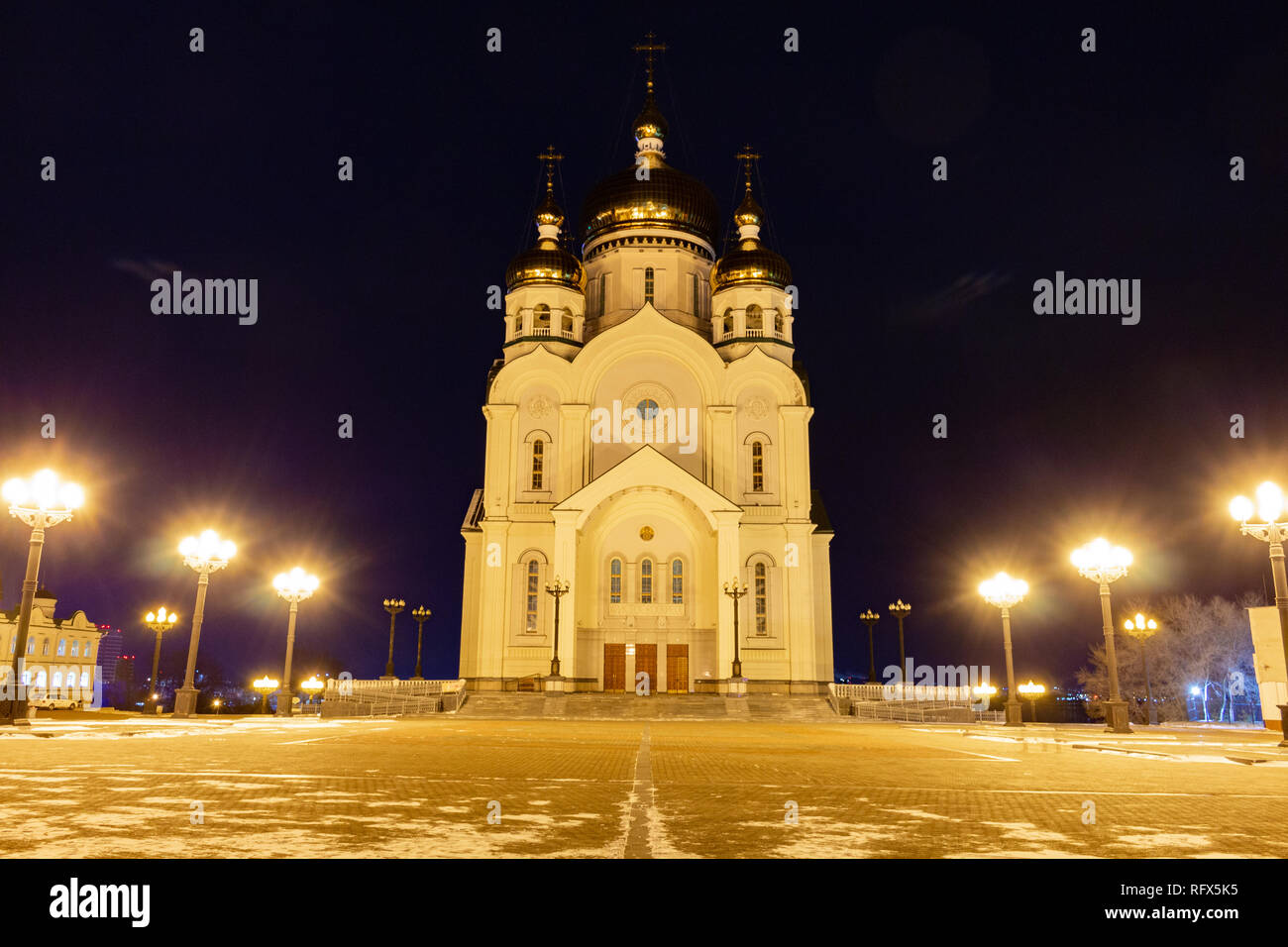 Spaso-Preobrazhensky Cathedral in Khabarovsk at night. - Stock Image