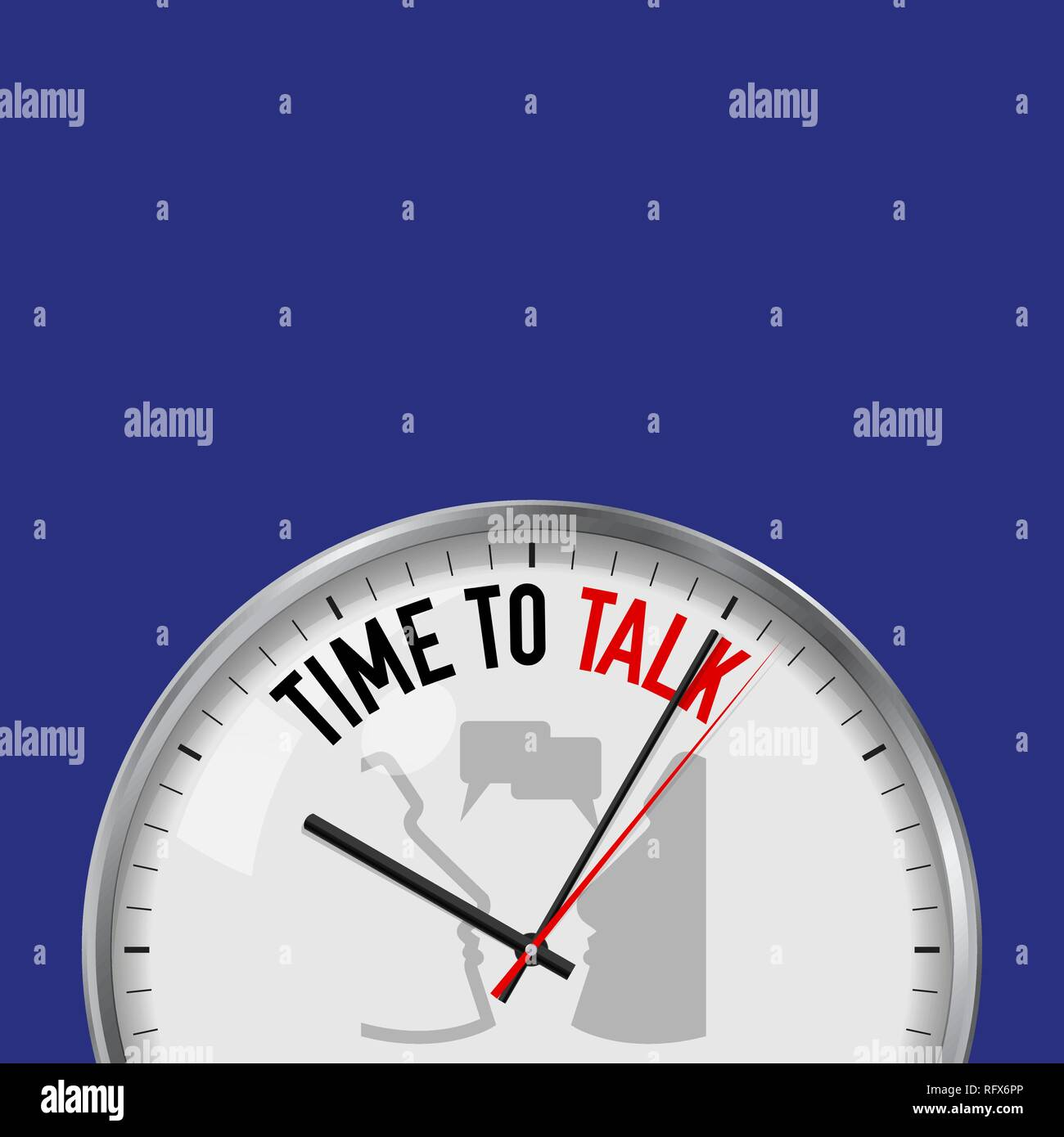 Time to Talk. White Vector Clock with Motivational Slogan. Analog Metal Watch with Glass. Vector Illustration Isolated on Solid Color Background. Face Stock Vector