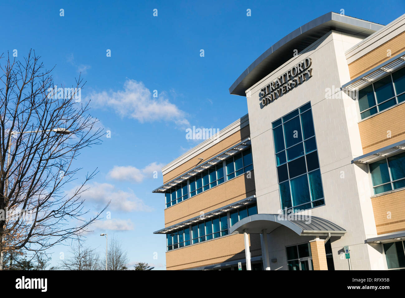 A logo sign outside of a facility occupied by Stratford University in Woodbridge, Virginia, on January 21, 2019. - Stock Image