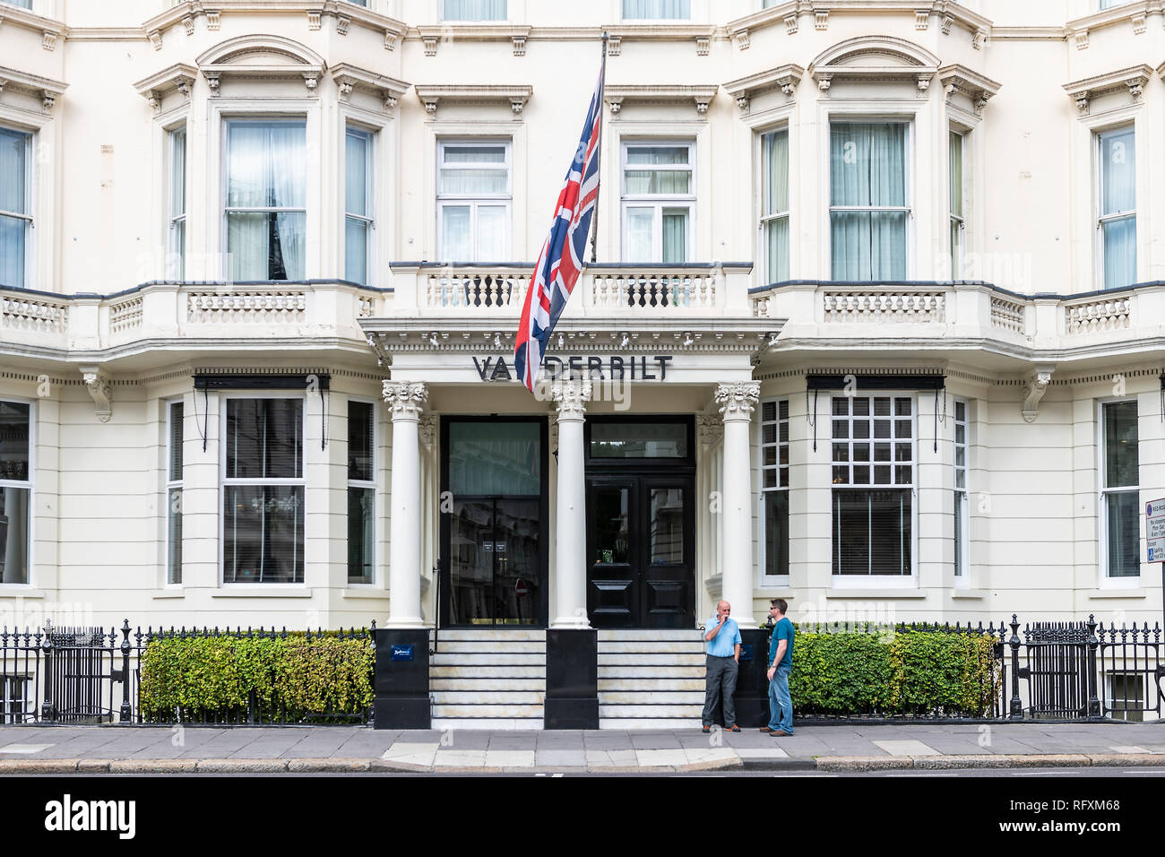 London, UK - September 16, 2018: Sign for Vanderbilt Radisson Blu Edwardian hotel on Cromwell road street in Kensington white architecture entrance an - Stock Image