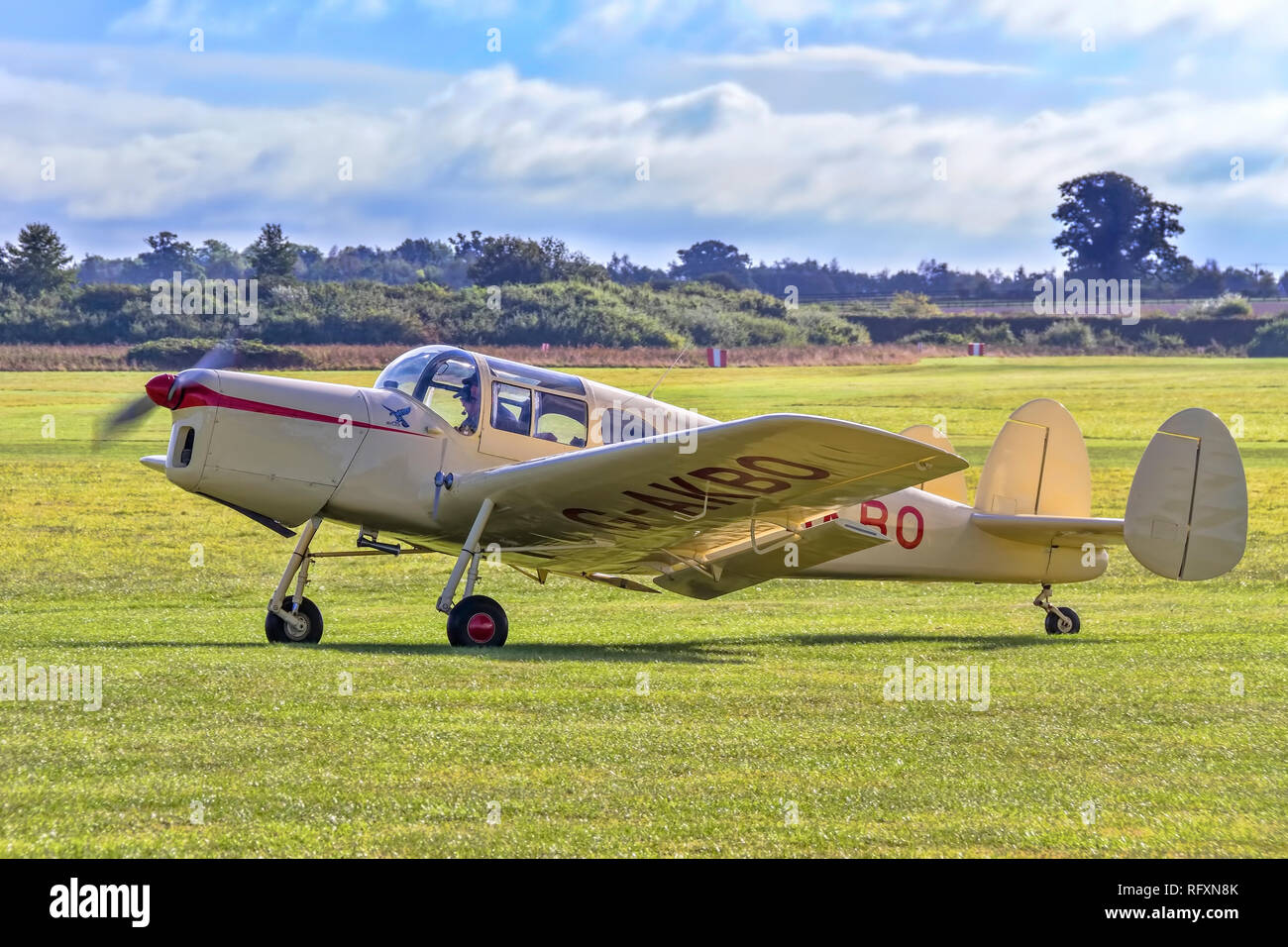 Nick Lee's 1947 Miles Messenger 2A G-AKBO taxying in on a visit to Old Warden for the Shuttleworth Race DAy 2016. - Stock Image
