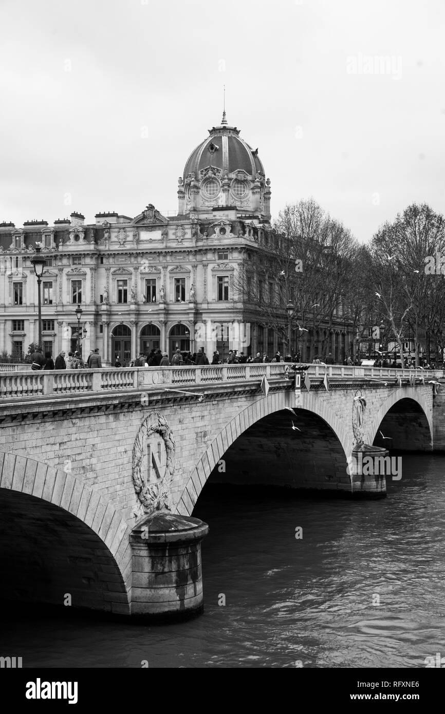Pont au Change, a bridge over the Seine, in Paris, France - Stock Image