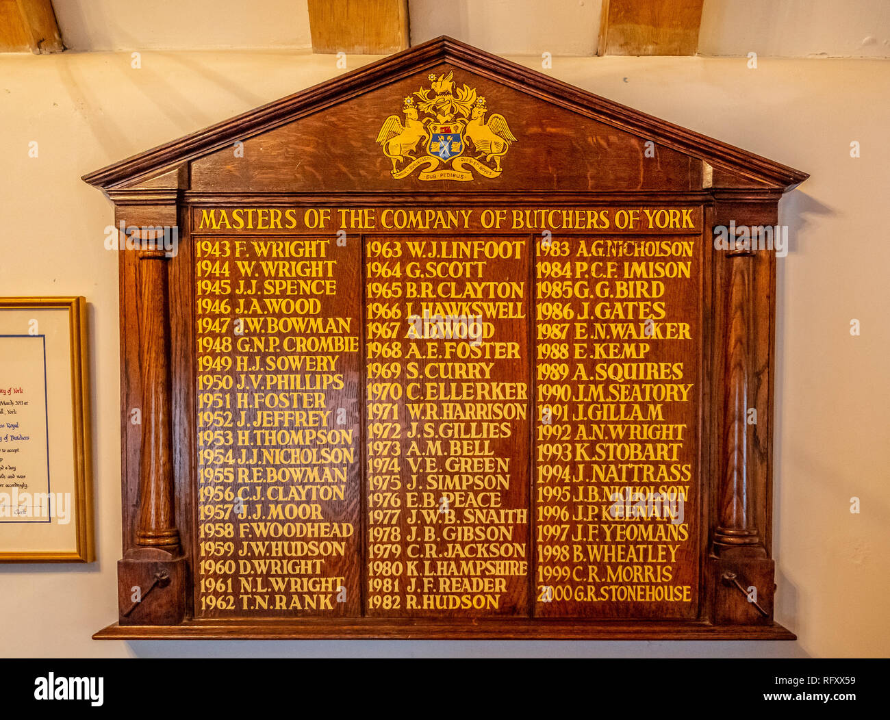 Company of Butcher's Plaque, Jacob's Well, Medieval building and the parish room for the Priory Church of the Holy Trinity, Micklegate, York, UK. - Stock Image