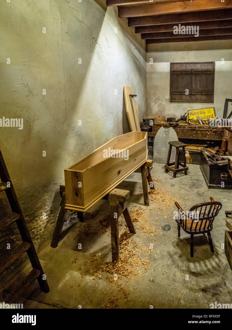 Exhibit at Castle Museum, York, UK.  Kirkgate Victorian street, Joiners and undertakers - Stock Image