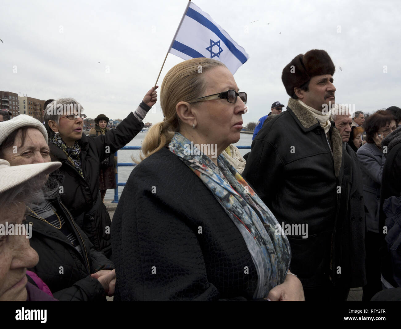 Rally against hatred and Anti-semitism at the Holocaust Memorial Park in Sheepshead Bay in Brooklyn, NY, March 13, 2016. - Stock Image