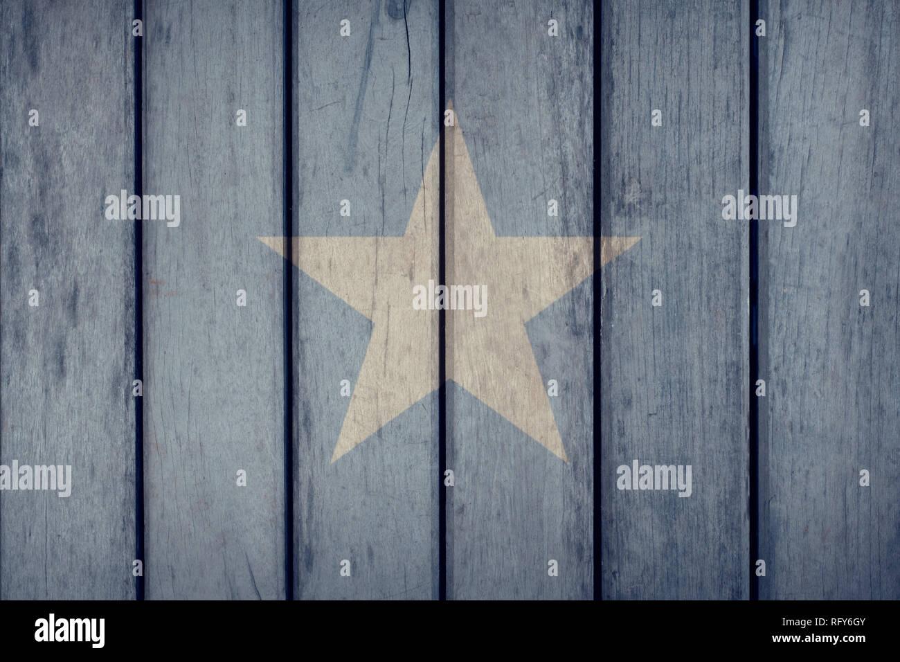 Somalia Politics News Concept: Somalian Flag Wooden Fence - Stock Image