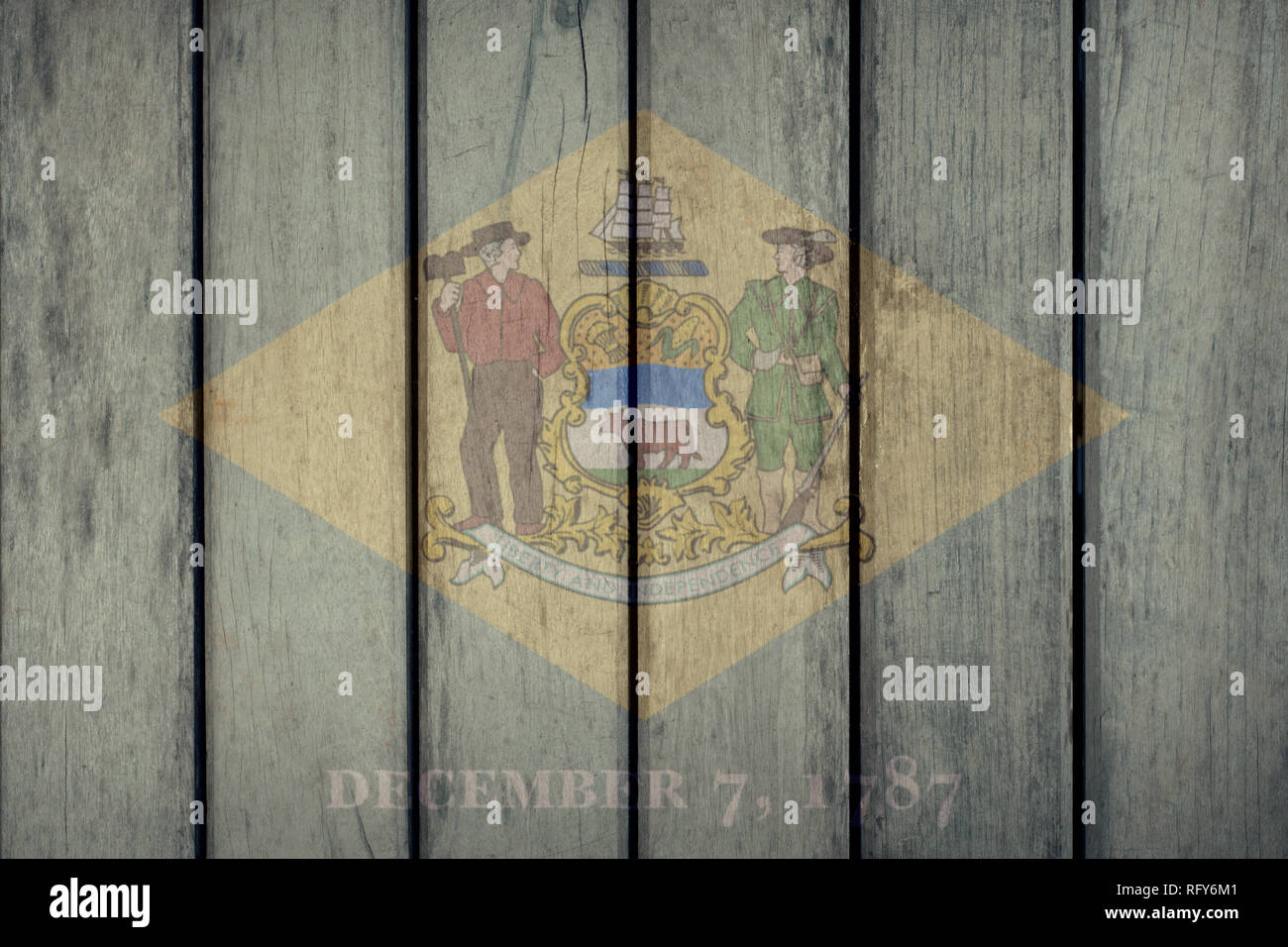 USA Politics News Concept: US State Delaware Flag Wooden Fence Stock