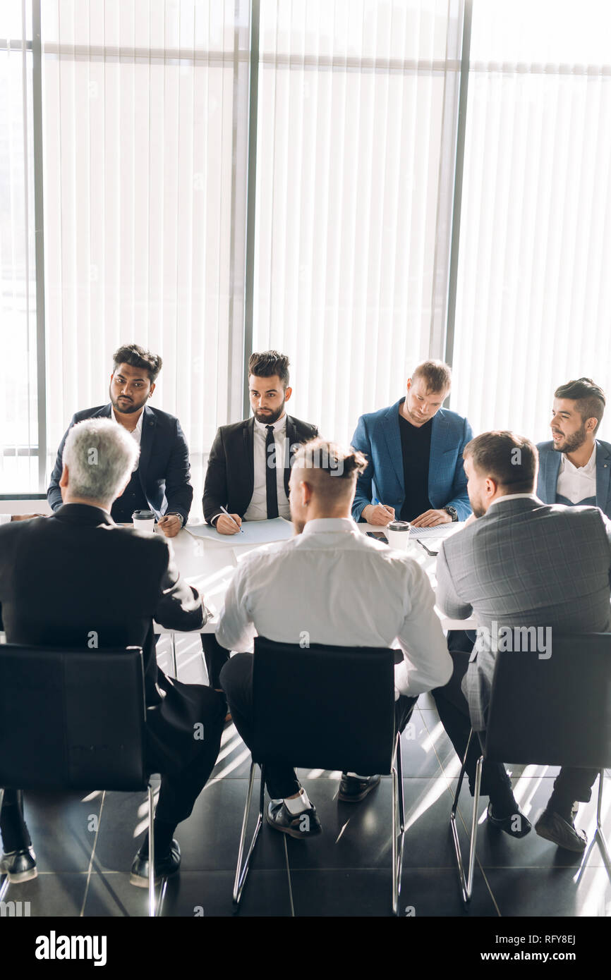 Business conference at modern office, seminar. - Stock Image