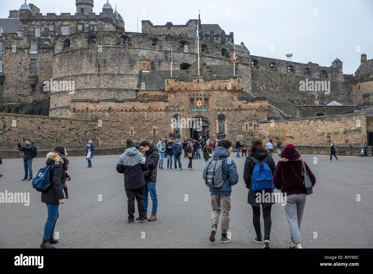 Edinburgh castle in the city of Edinburgh Scotland on a winters day - Stock Image