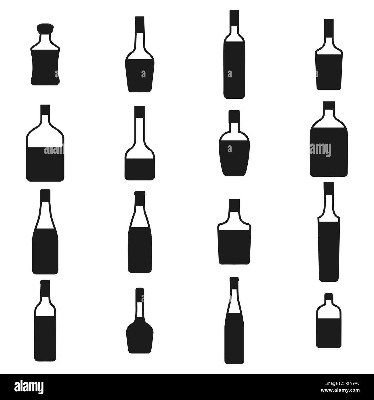 Alcohol bottles icons set. Black silhouettes on a white background, vector illustration. - Stock Vector