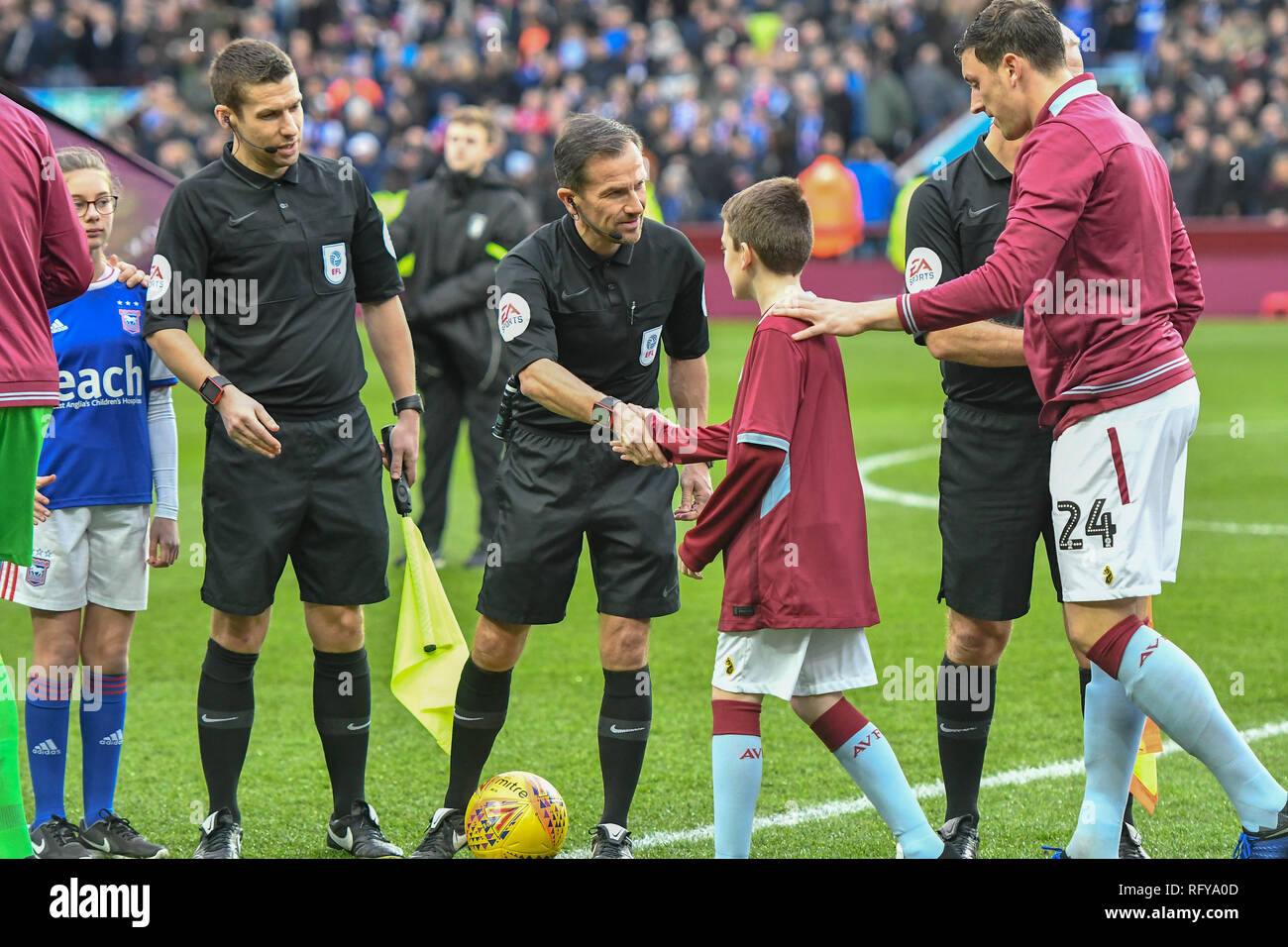 26th January, Villa Park, Birmingham, England ; Sky Bet Championship, Aston Villa vs Ipswich Town : Keith Stroud todays match official greets the home team.  Credit: Gareth Dalley/News Images  English Football League images are subject to DataCo Licence - Stock Image