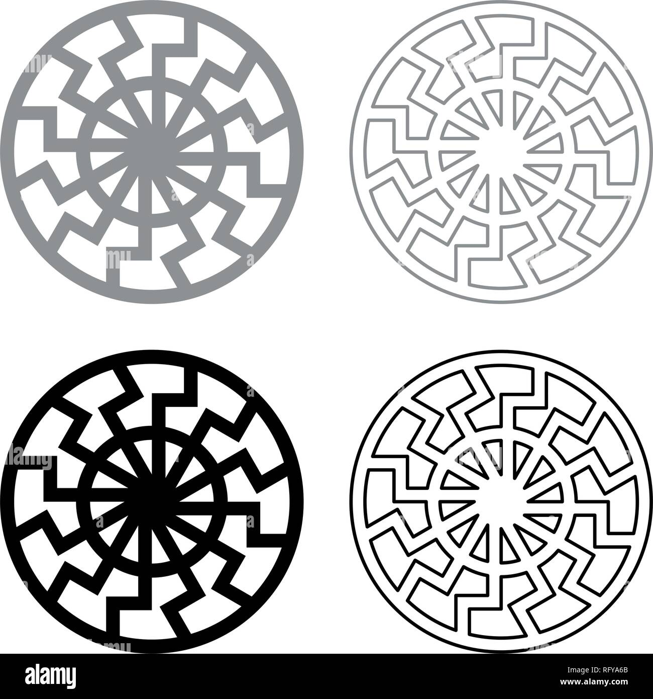 set grey black sun symbol icon set grey black color vector I outline flat style simple image - Stock Image