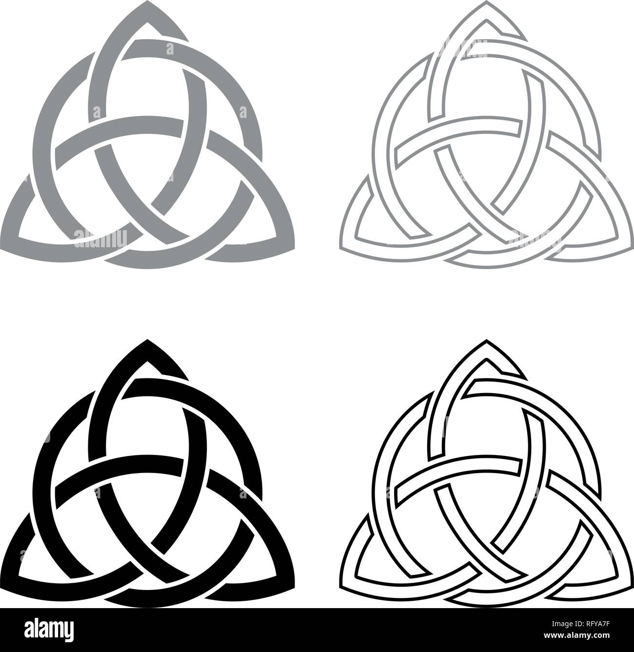Triquetra in circle Trikvetr knot shape Trinity knot icon set grey black color vector I outline flat style simple image - Stock Vector