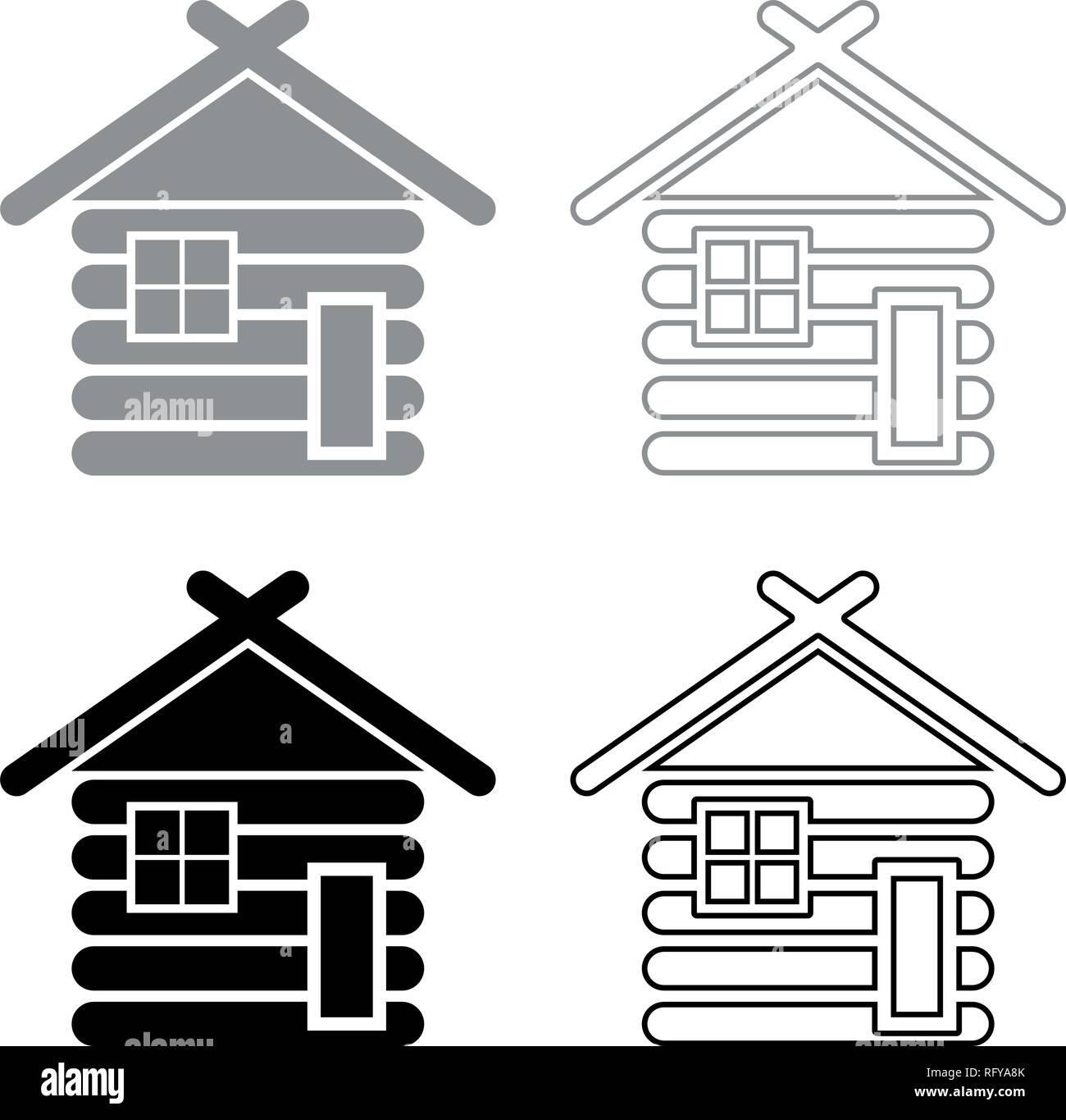 Wooden house Barn with wood Modular log cabins Wood cabin modular homes icon set grey black color vector I outline flat style simple image - Stock Vector