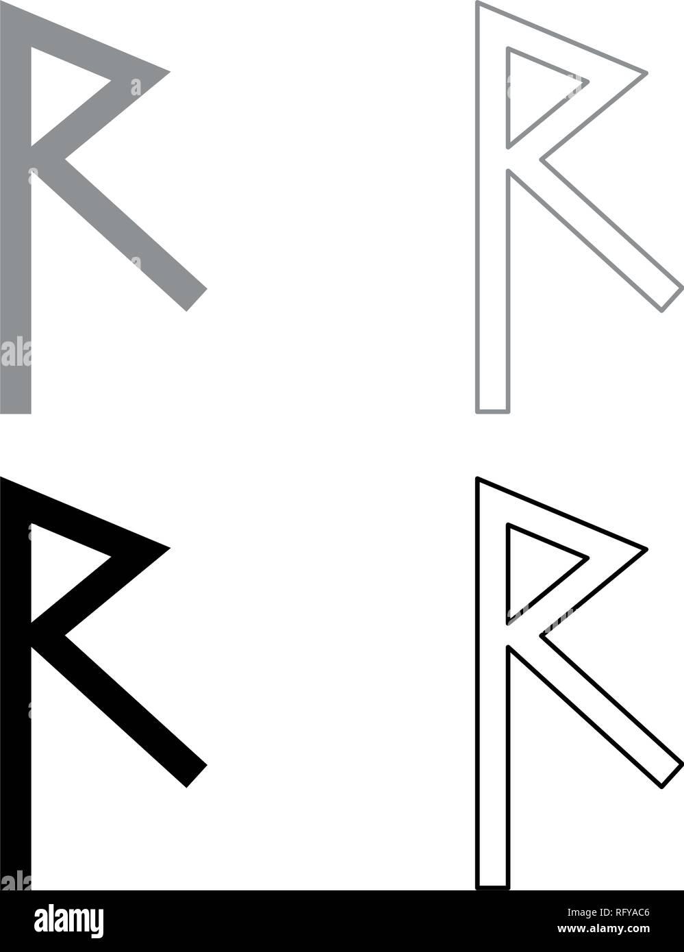 Raido rune raid symbol road icon set grey black color vector I outline flat style simple image - Stock Vector