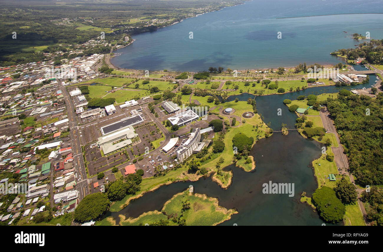 Aerial View of Hilo, one of the biggest towns at Big Island, Hawaii - Stock Image