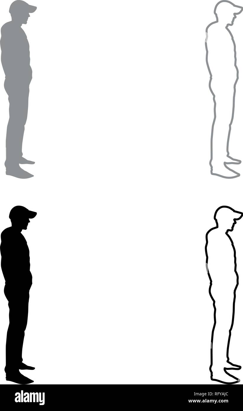 Man Standing In Cap View With Side Icon Set Grey Black Color Vector I Outline Flat Style Simple Image Stock Vector Image Art Alamy
