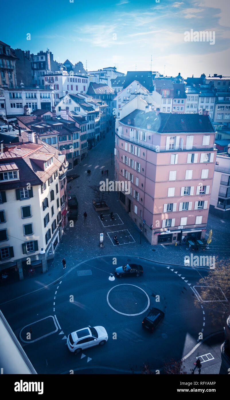 Street of Lausanne town - Stock Image