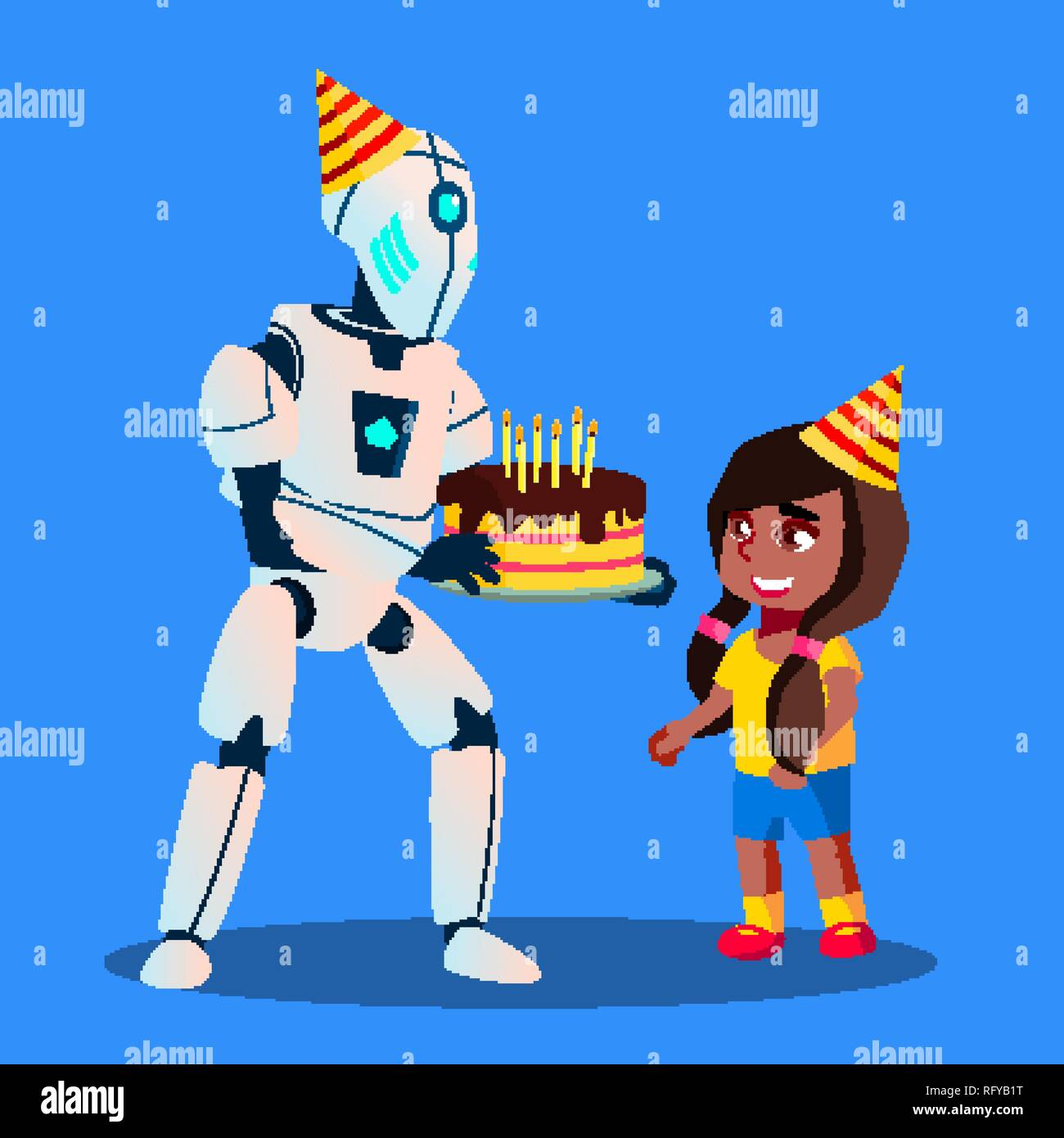 Excellent Robot With Birthday Cake In Hands At Celebration Vector Isolated Personalised Birthday Cards Epsylily Jamesorg