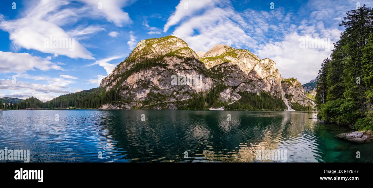 Panoramic view on Lake Prags, Lake Braies, Pragser Wildsee, Lago di Braies Stock Photo