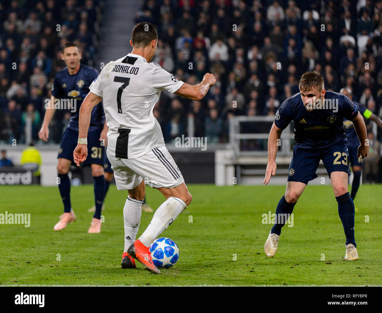 Turin - Nov 7, 2018:  Cristiano Ronaldo 7 shows his ball possession technic. Juventus - Manchester United. UEFA Champions League. Matchday 4. Allianz  - Stock Image
