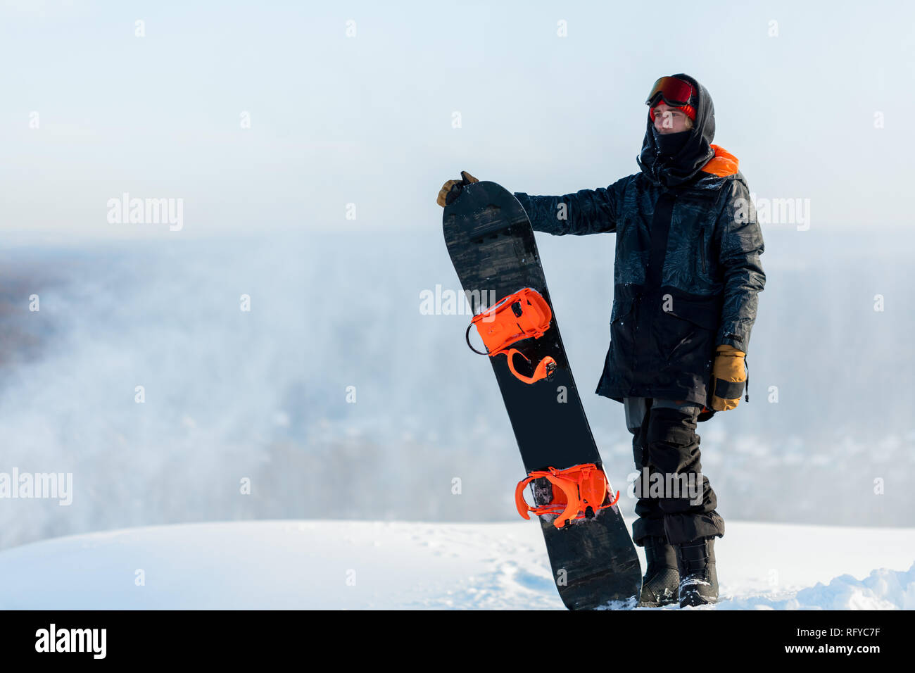 Handsome Cool Man With Snowboard On Mountain Top Stock Photo Alamy