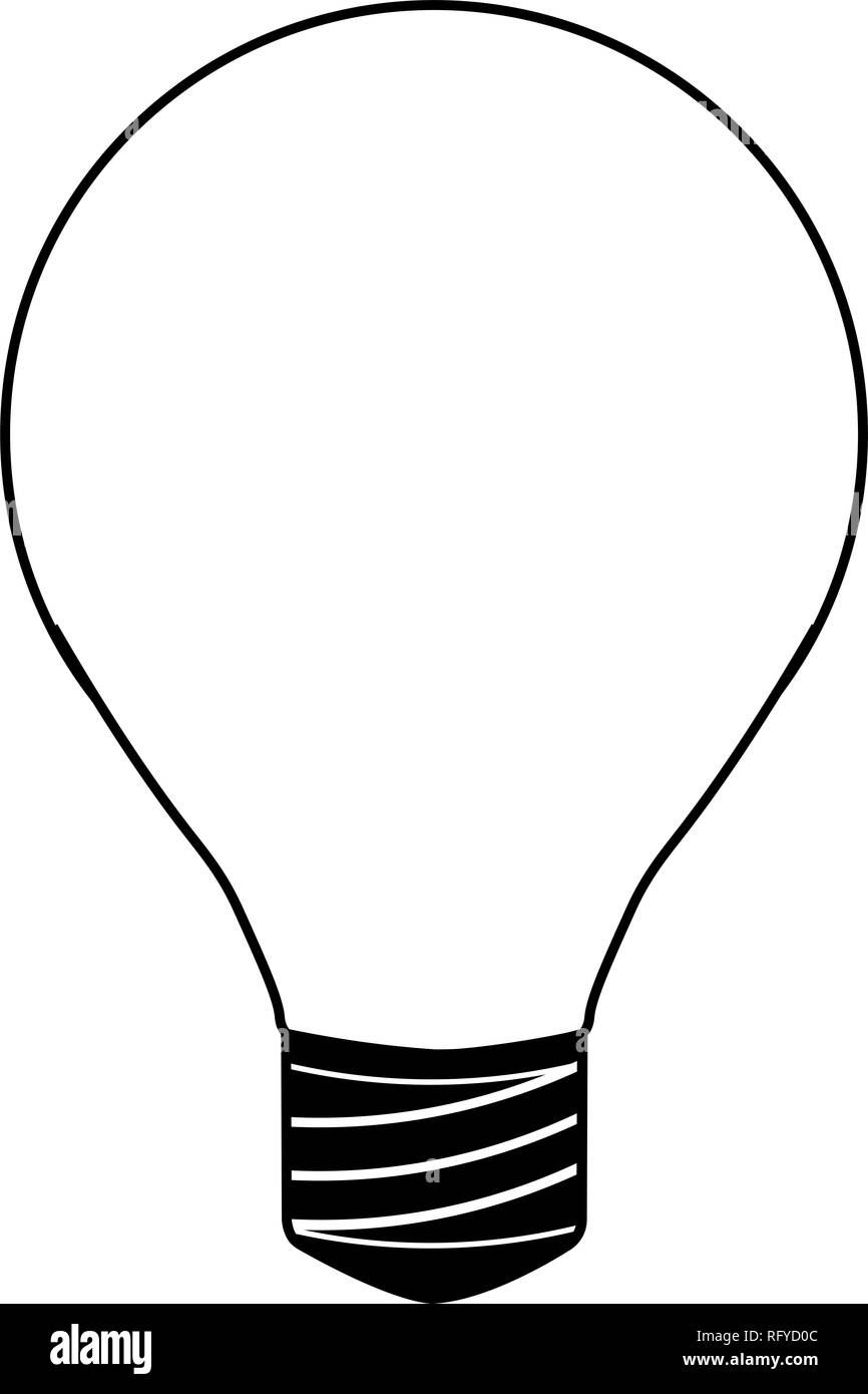 Black and white illustration of a light bulb icon - Stock Image