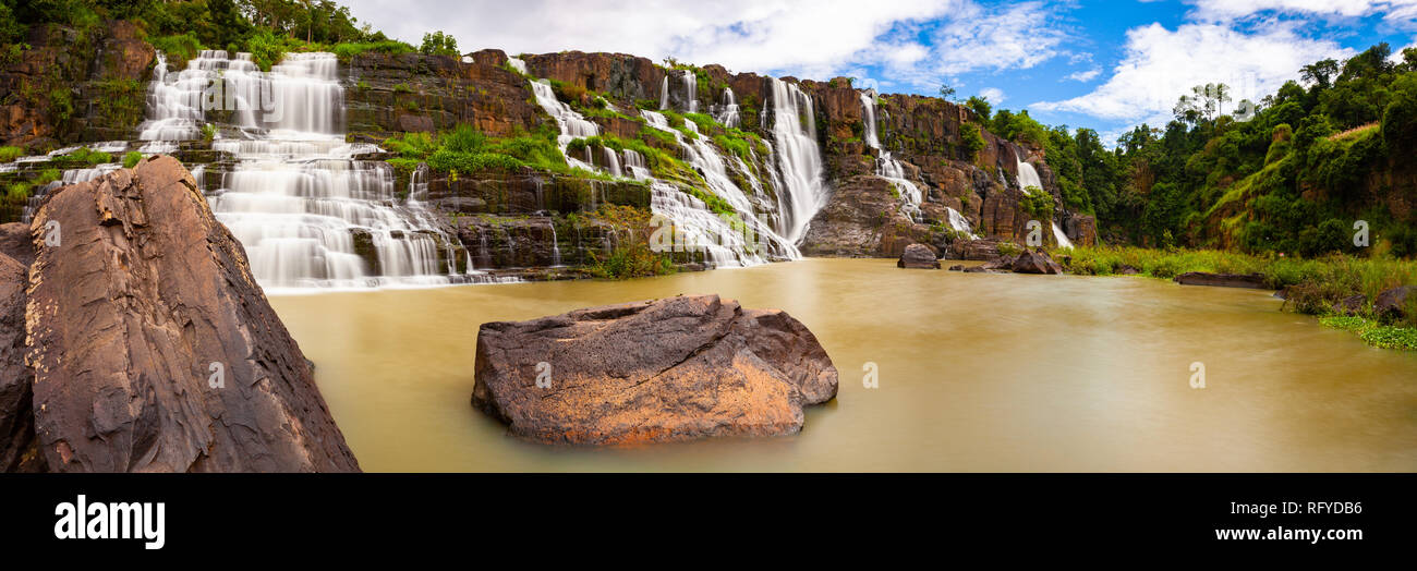 Panorama of the beautiful Pongour waterfalls located near Dalat, Vietnam - Stock Image