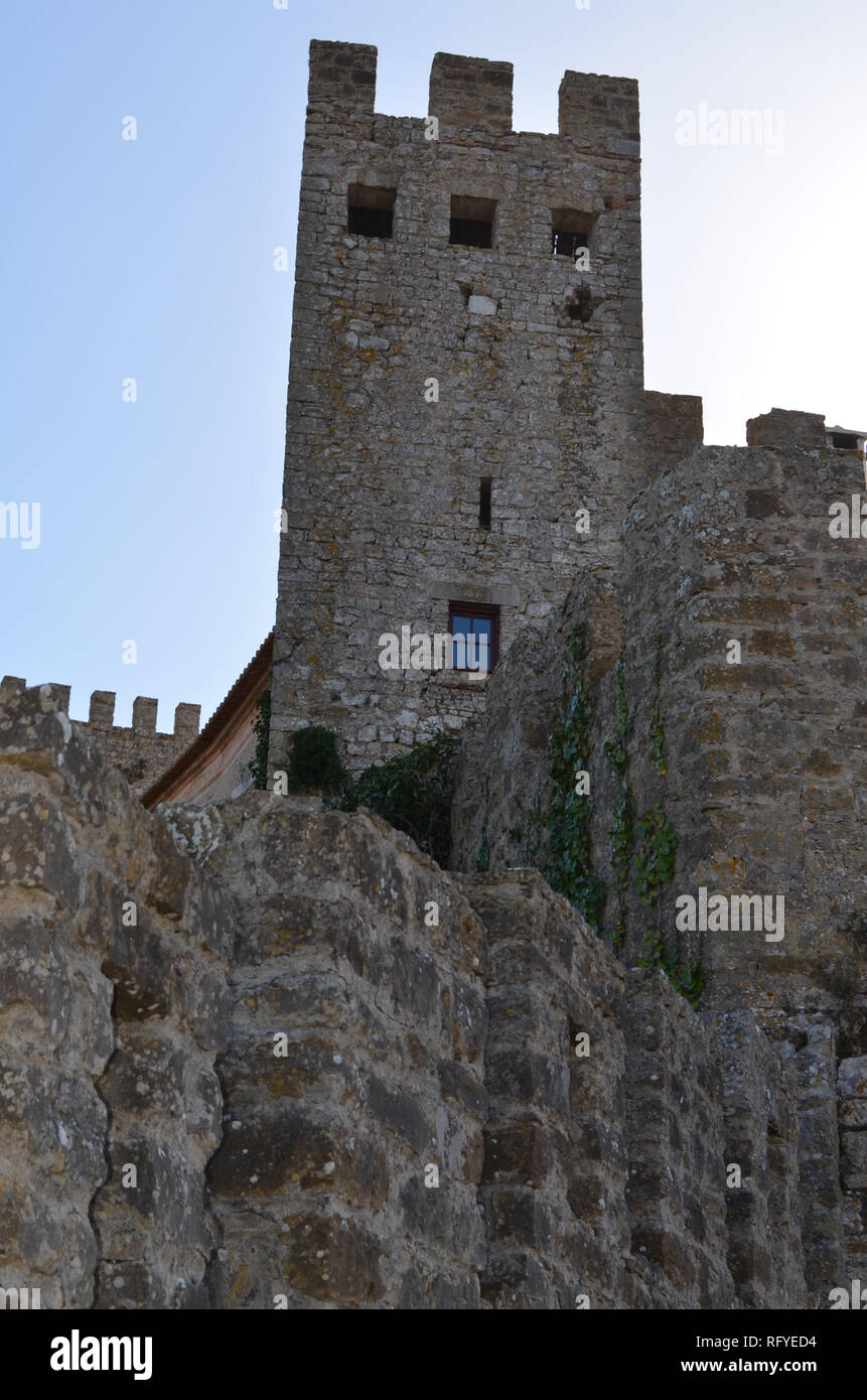Medieval 12-th century castle of Obidos, central Portugal - Stock Image