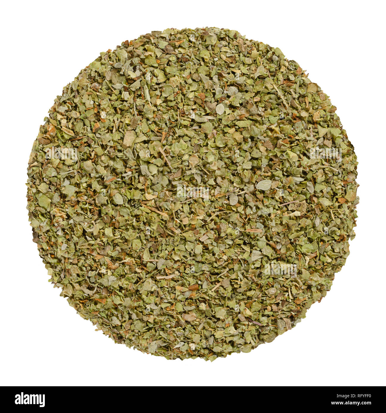Dried marjoram, herb circle from above, isolated, over white. Disc made of Origanum majorana, also sweet, knotted or pot marjoram. Green herb. - Stock Image