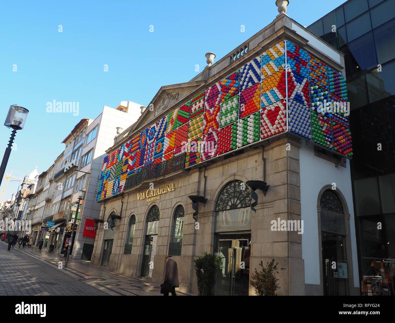 Tiles decorated Facade of Via Catarina shopping in Porto - Portugal - Stock Image