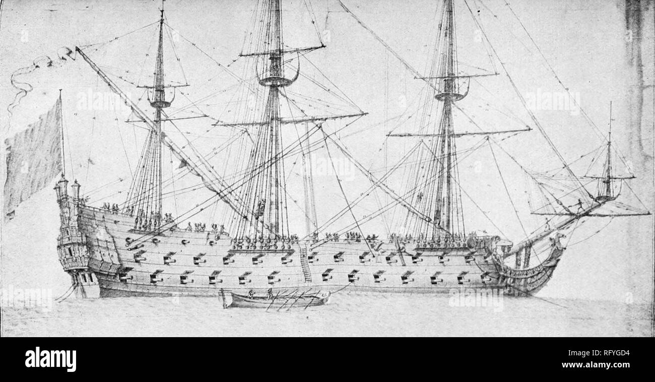 The Triomphant ship of the line of the French Royal Navy. One of two sisterships designed and built by Laurent Hubac. Started as Brave in Brest and launched on 20 June 1675, Stock Photo
