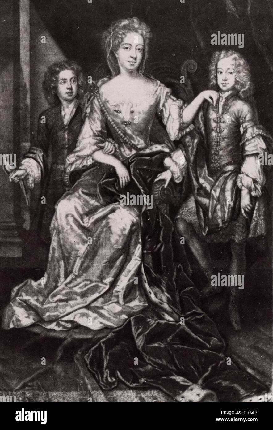 Anna, Duchess of Buccleuch and sons. Anne Scott, 1st Duchess of Buccleuch (1651 – 1732) wealthy Scottish peer. - Stock Image
