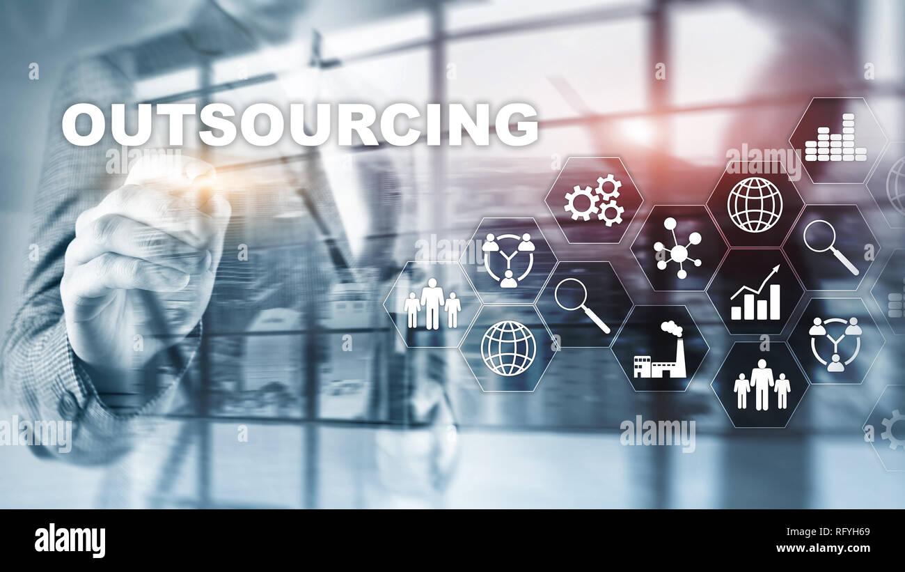 Outsourcing Human Resources. Global Business Industry Concept. Freelance Outsource International Partnership. - Stock Image