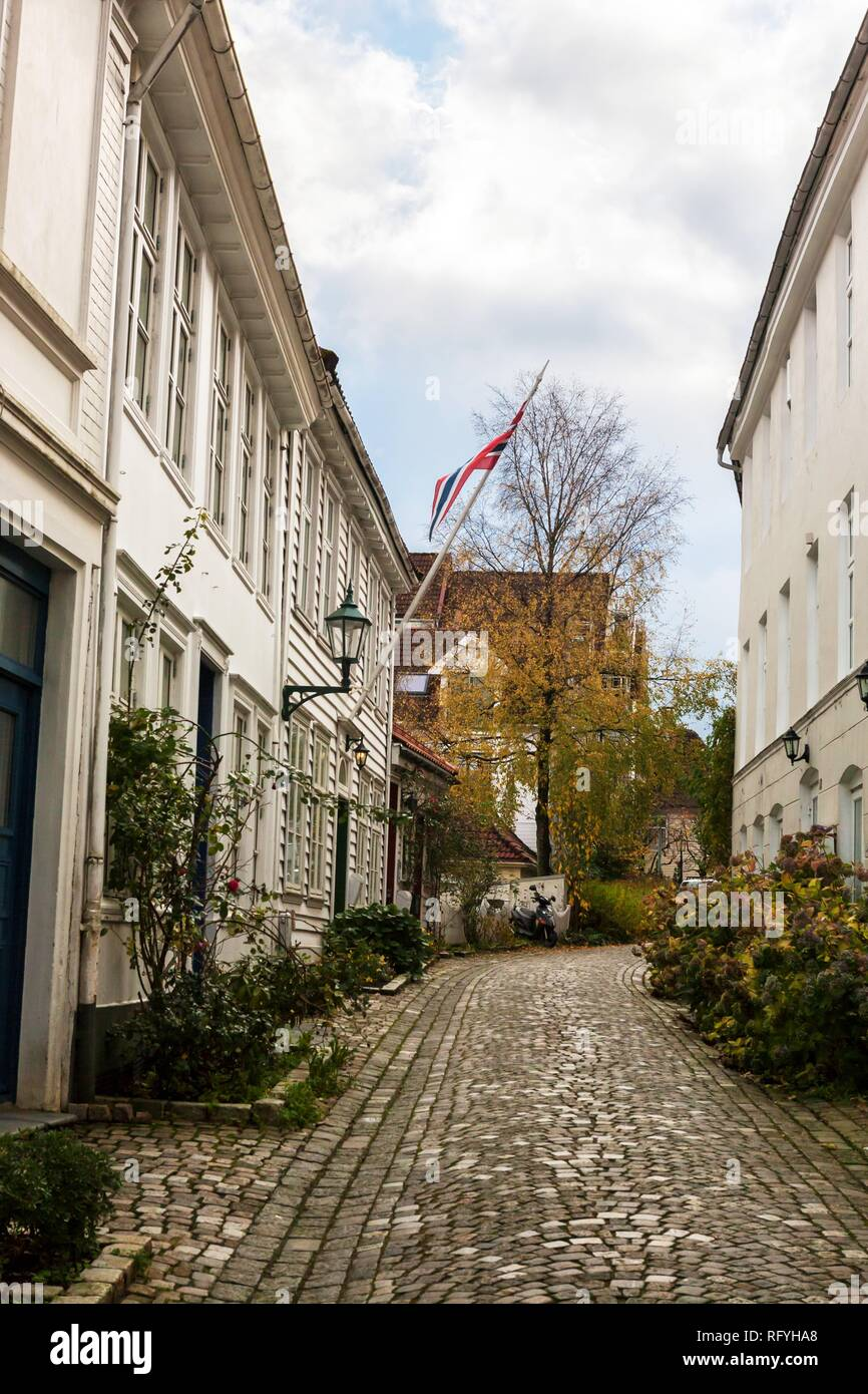 Lille Markeveien, an old street in the Nordnes district, Bergen, Hordaland, Norway - Stock Image
