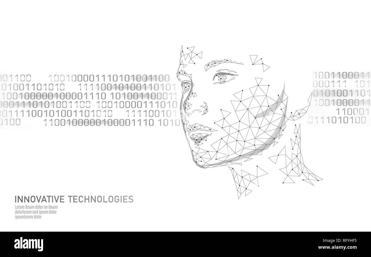 Low poly female human face biometric identification. Recognition system concept. Personal data secure access scanning innovation technology. 3D - Stock Image