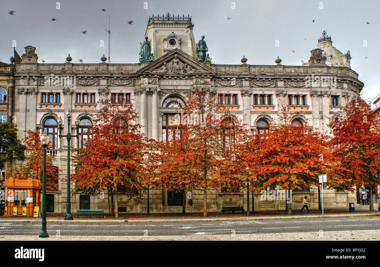 Building of Bank of Portugal in Oporto, Portugal - Stock Image