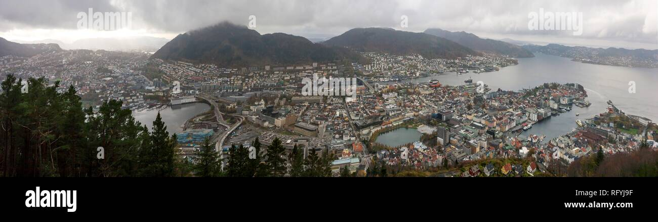 Panoramic view over Bergen, Norway, from Mount Fløyen - Stock Image