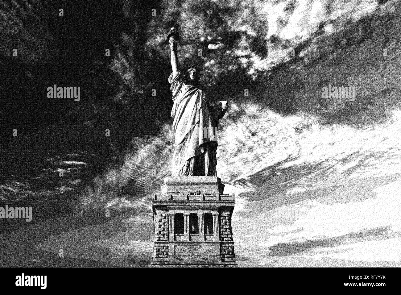 Dotted pencil drawing of statue of liberty in the usa by adam asar