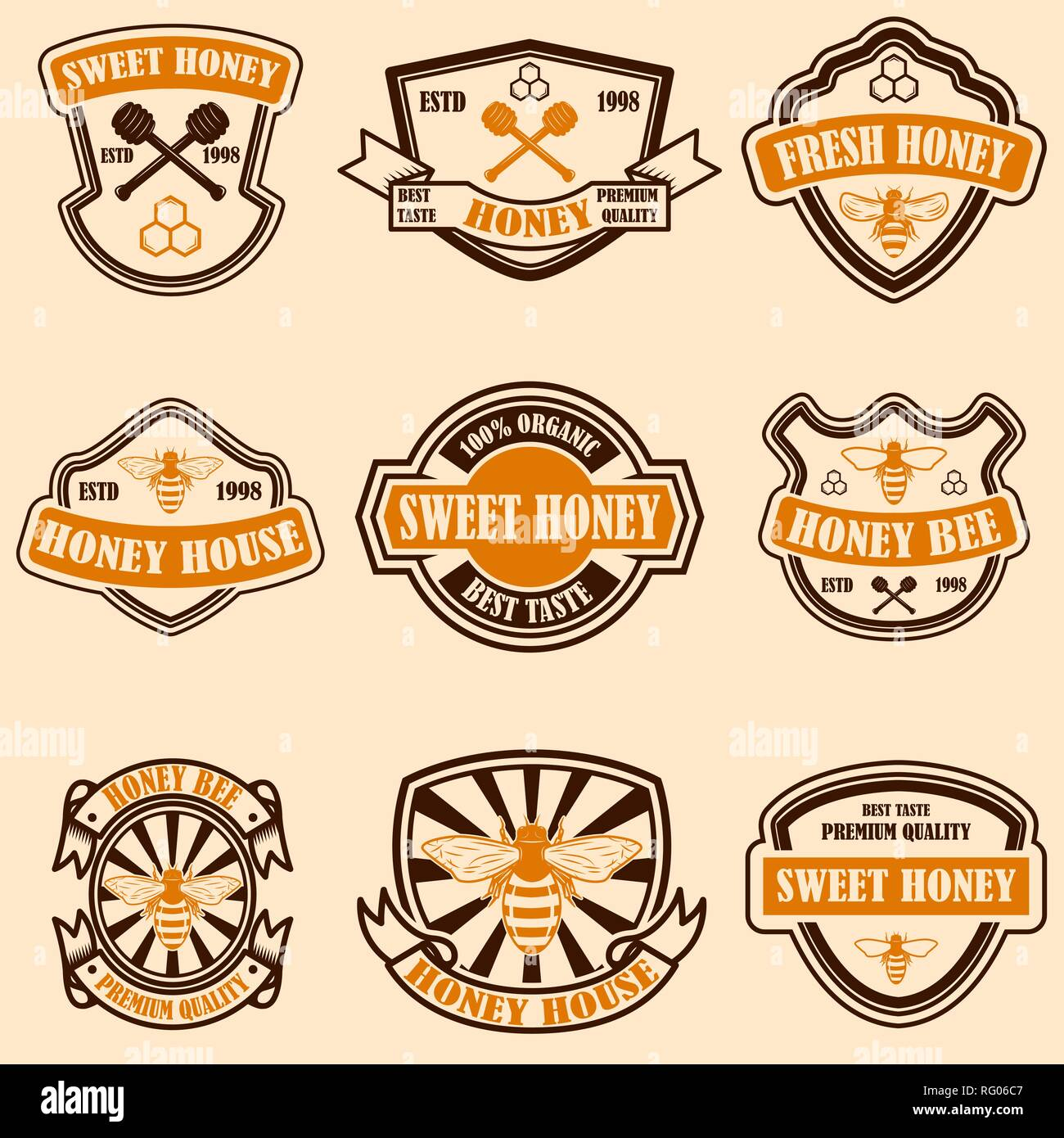 Set Of Vintage Honey Labels Template Bee Icons Design Element For