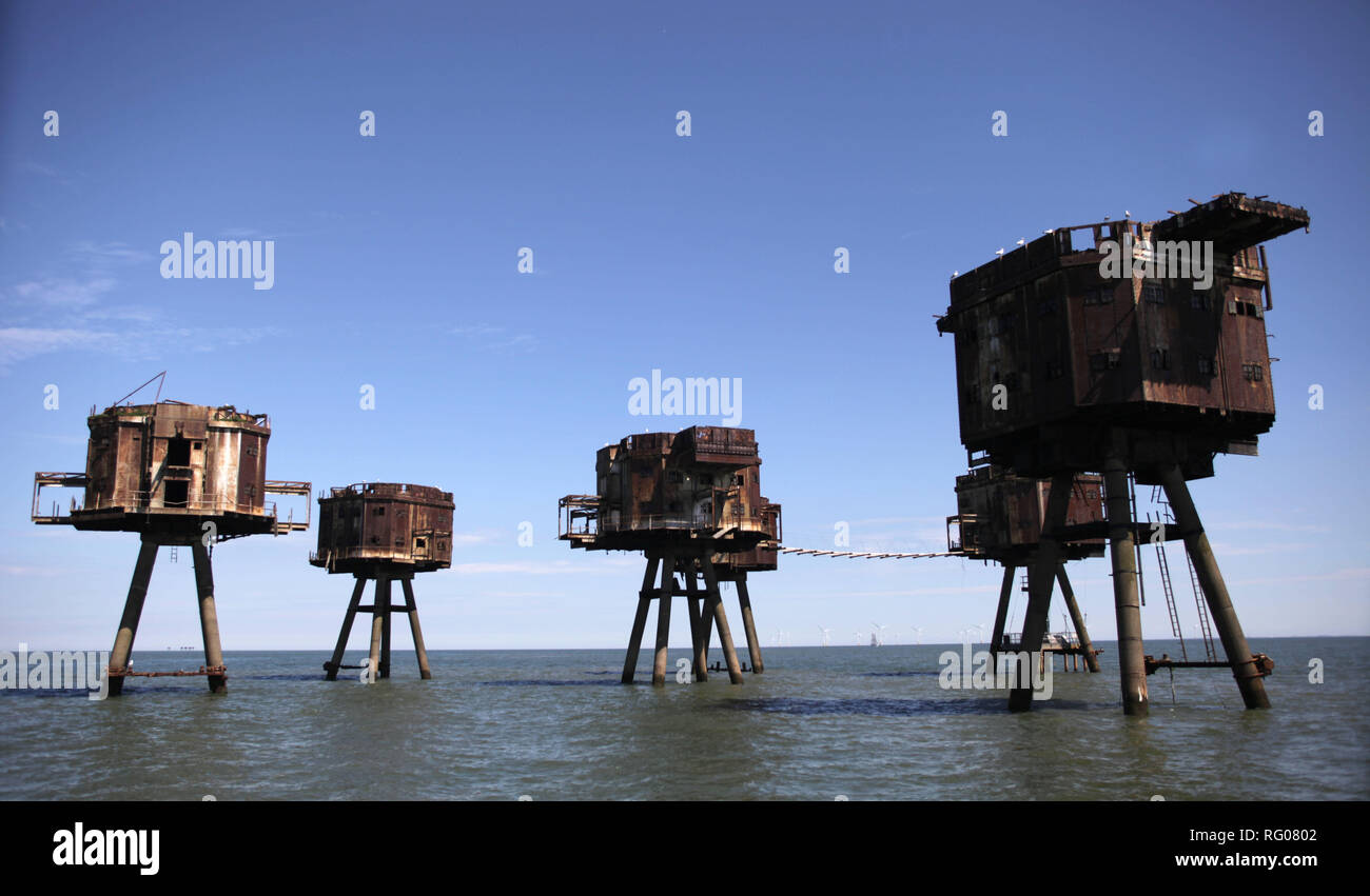 Maunsell sea forts, Whitstable, Kent, England, Britain - Stock Image