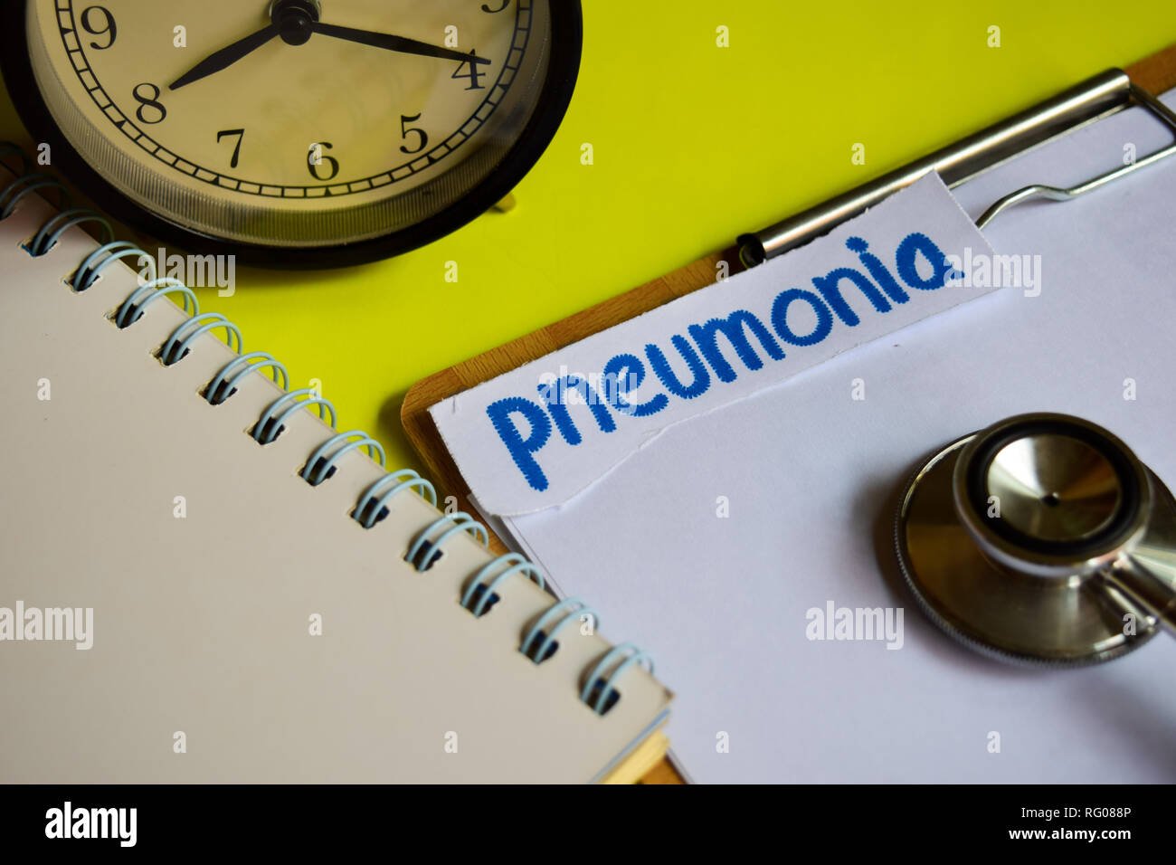 Pneumonia on healthcare concept inspiration on yellow background - Stock Image