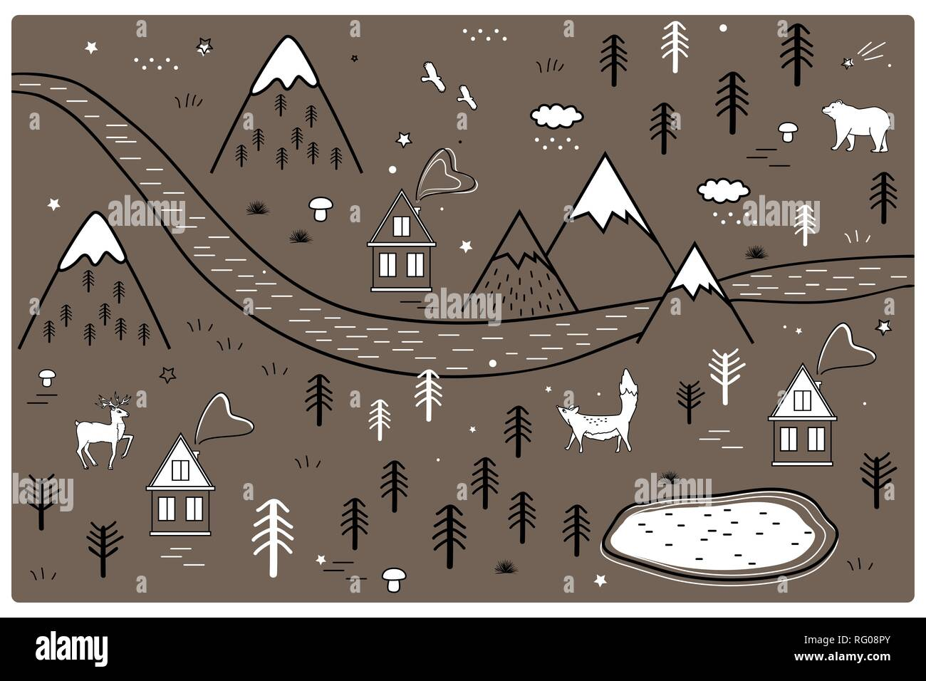 River, Mountains and Woods Adventure Map with Houses and Animals. Scandinavian Style Art Nursery Monochrome Door or Wall Mat - Stock Vector