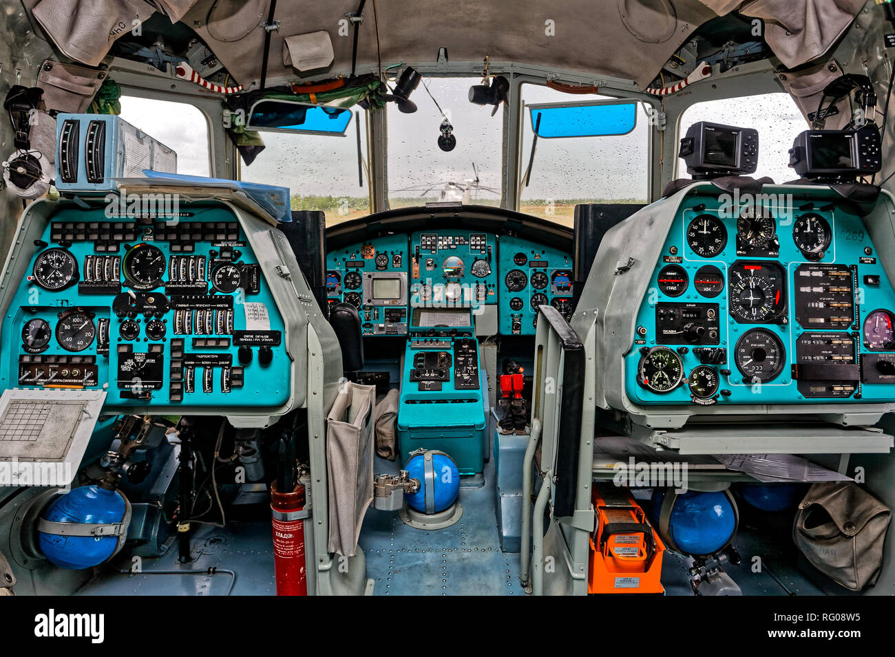 Urengoi, Russia - August 2011: The crew cabin of the transport helicopter Mi-26T. The world's largest and load-carrying helicopter parked at the airpo - Stock Image