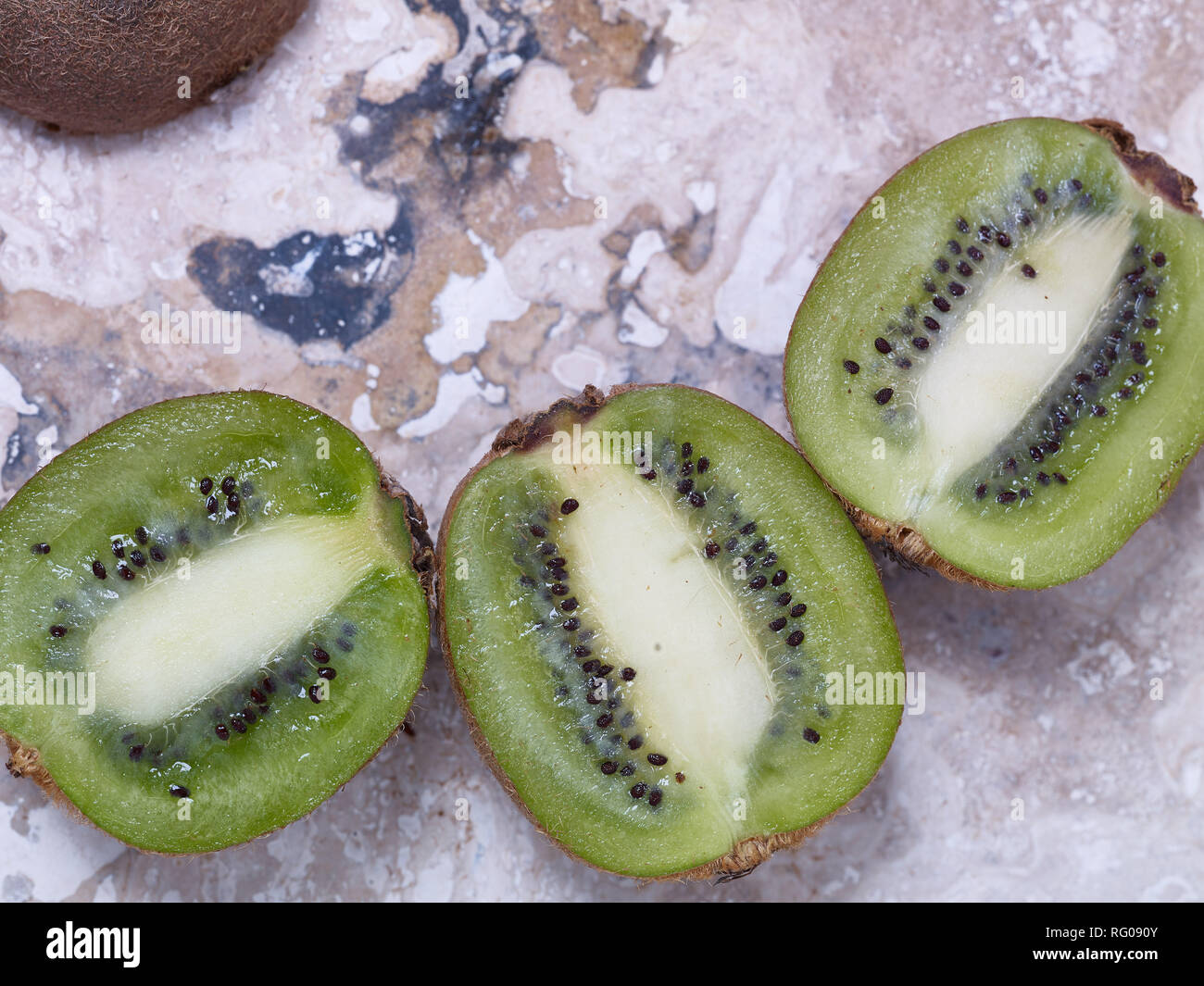 Fresh cut Kiwi-fruit ,food still-life photograph - Stock Image